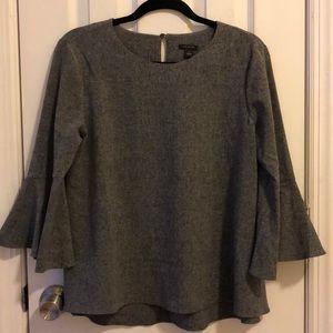 Ann Taylor Gray Bell Sleeve Blouse
